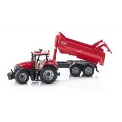 Tracteur CASE IH Optum 300 CVX rouge avec remorque KRAMPE