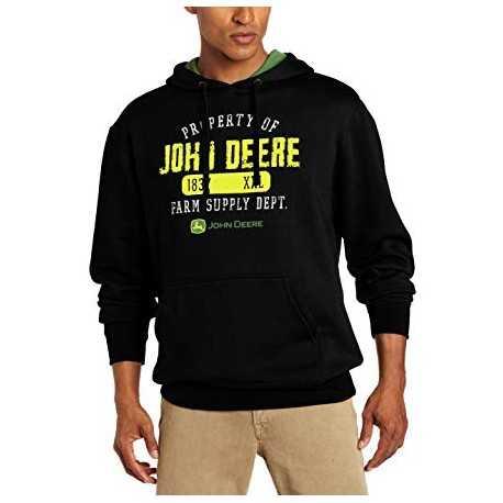 Sweat John Deere noir logo jaune Homme